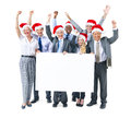 Business people celebrating and holding placard group of Stock Images