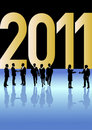 Business people celebrating New Year 2011 Royalty Free Stock Image