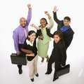 Business people cheering holding briefcases. Royalty Free Stock Photo