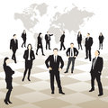 Business people on a chessboard map of the world in background vector illustration Royalty Free Stock Images
