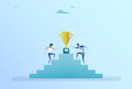 Business People Climbing Stairs Up To Golden Cup Winner Success Competition Concept Royalty Free Stock Photo