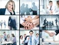 Business people collage of foto young working together in Stock Photography