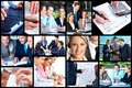 Business people collage team working in the office background Stock Images