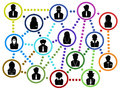 Business people communication net the background of network Stock Photo