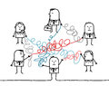 Business people connected by tangled strings hand drawn cartoon characters Royalty Free Stock Image