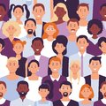 Business people crowd pattern. Office employees, workers team portrait and colleagues standing together seamless vector