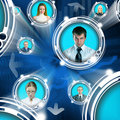 Business people in cyberspace Stock Image