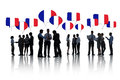 Business people discussing about france group of talking and Stock Images