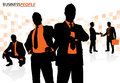 Business people in a dynamic pose illustration of group of depicted as silhouettes Royalty Free Stock Image