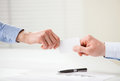 Business people exchanging card closeup shot of hands Stock Photography
