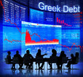 Business people facing greek debt crisis group of discussing about s red Stock Photos