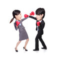 Business people fight compete with a and boxing asian big head Stock Photos
