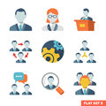 Business people flat icons icon set for web and mobile application Royalty Free Stock Photo