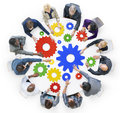 Business People with Gears and Teamwork Concept Royalty Free Stock Photo