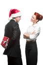 Business people giving red christmas gift Royalty Free Stock Image