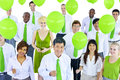 Business People in Green Business Meeting Royalty Free Stock Photo