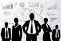 Business people group black silhouette graph concept businesspeople team finance chart diagram background Stock Photos