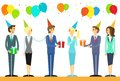 Business people group celebrate birthday holiday Royalty Free Stock Photo