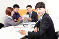 Business people group meeting with touchpad and using at office asian Royalty Free Stock Photo