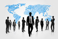 Business People Group Silhouette Over World Global