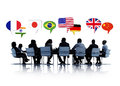 Business people having a conference about international relation group of in white background Royalty Free Stock Images