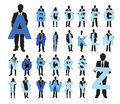 Business people holding alphabet texts silhouettes of Stock Photography