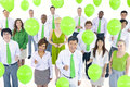 Business People Holding Green Balloons Royalty Free Stock Photo