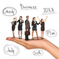 Business people in humans hand on isolated white background Royalty Free Stock Images