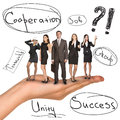 Business people in humans hand with words on isolated white background Royalty Free Stock Photo