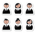 Business people icons set - labels Royalty Free Stock Photo