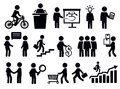 Business people icons vector black set on white Royalty Free Stock Photos