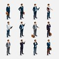 Business people isometric set with men in suits, beard styling stylish hairstyle mustache office isolated.
