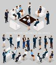 Business people isometric set to create his illustrations meeting with men and women in corporate attire isolated on a gray Royalty Free Stock Photo