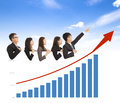 Business people with a marketing situation bar chart blue sky background Stock Photography