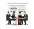 Business people meeting at a big conference desk. Royalty Free Stock Photo