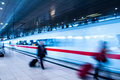 Business people movement in rush hour train station frankfurt airport with blur Royalty Free Stock Photos
