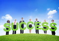 Business People Outdoors Holding Text Success Royalty Free Stock Photo