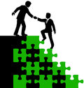 Business people partner help find solution consultant mentor or teamwork helps associate problem puzzle Royalty Free Stock Photography