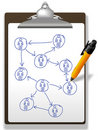 Business people plan network diagram clipboard pen Stock Photography