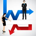 Business people with profit and loss arrow easy to edit vector illustration of aarrow Royalty Free Stock Image