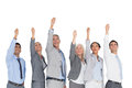 Business people raising their arms on white background Stock Photos