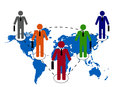 Business people relationship illustration of on world map Royalty Free Stock Photos