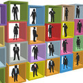 Business people resources office cubicle boxes Stock Photo