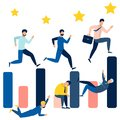Business people running on the bar chart. Can use for web banner, infographics, hero images. In minimalist style. Flat