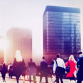 Business people rush hour walking commuting city concept Stock Images