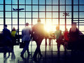 Business People Rushing Walking Plane Travel Concept Royalty Free Stock Photo