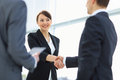 Business people shaking hands two professional Stock Photography