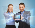 Business people showing tablet pc Stock Photo