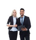 Business People Smile, Hold Folder Businessman And Businesswoman Wear Formal Suit Royalty Free Stock Photo