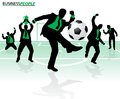Business people in soccer success illustration of a group of hitting their goals depicted as silhouettes Royalty Free Stock Images